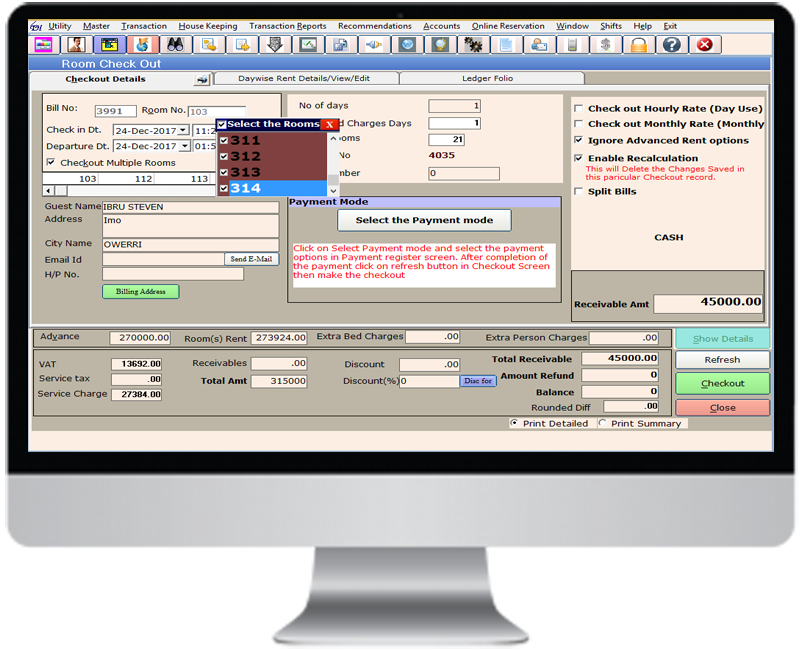 Weltraum PMS Hotel Software Checkout Screen